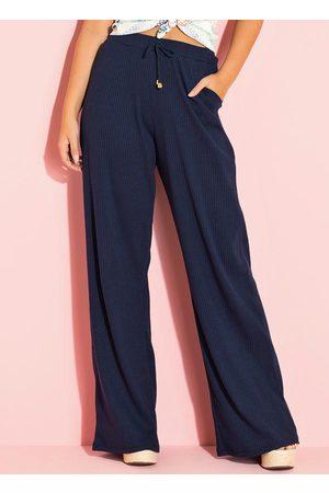 Quintess Calça Pantalona Canelada Marinho