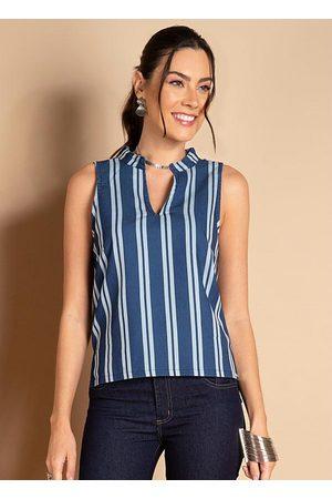 QUINTESS Camisa Listras Azuis com Decote V