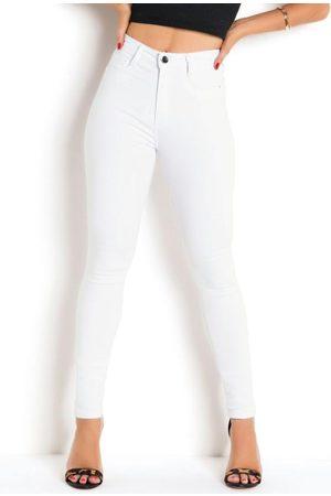 Sawary Jeans Mulher Calça Cintura Alta - Calça Super Lipo Branca Sawary com Bolsos