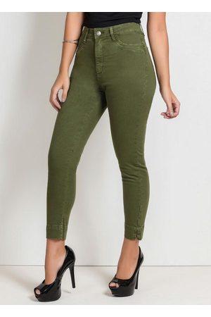 Sawary Jeans Calça Cropped Militar com Fendas Sawary
