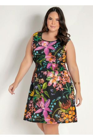 Marguerite Mulher Vestido Estampado - Vestido Curto Floral com Franzido Plus Size