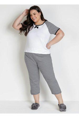 Alma Dolce Pijama Plus Size com Calça Capri Branco e Listra