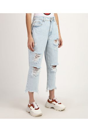 Clockhouse Calça Jeans Feminina Mom Cintura Super Alta Cropped Destroyed Claro