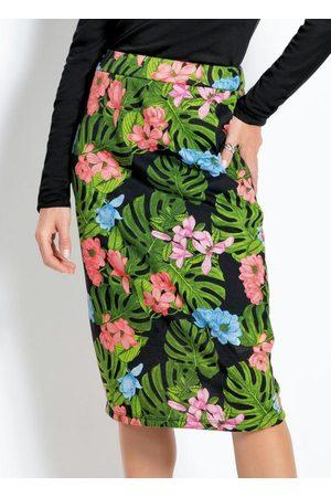 Moda Pop Mulher Saia Estampada - Saia Midi Floral com Elástico no Cós