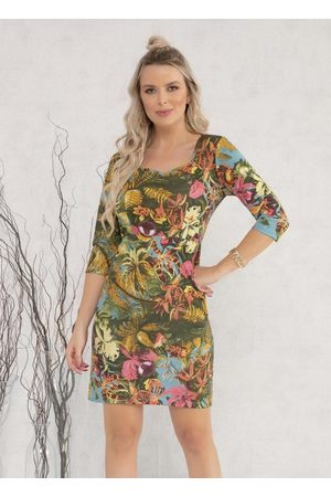 MODA POP Mulher Vestido Estampado - Vestido com Recortes Floral