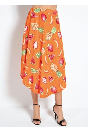 MODA POP Saia Midi Frutas com Barra Arredondada