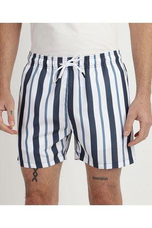 Clockhouse Shorts Masculino Listrado de Elástico Branco