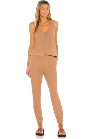 MONROW Crepe Jumpsuit in Neutral. - size L (also in M, S, XS)