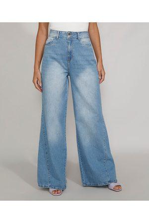 adidas Calça Jeans Feminina Pantalona Wide Cintura Super Alta Claro