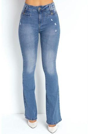 Sawary Jeans Calça Jeans Clara Flare Puídos e Botões Sawary