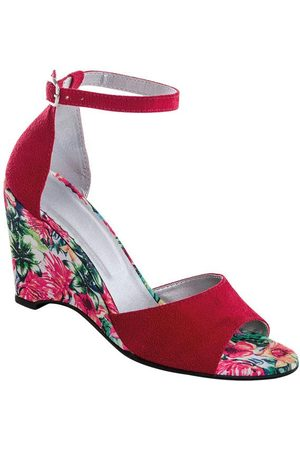 adidas Sandália Anabela Vermelha com Salto Estampado