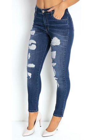 Sawary Jeans Mulher Calça Boyfriend - Calça Jeans Boyfriend Destroyed Sawary