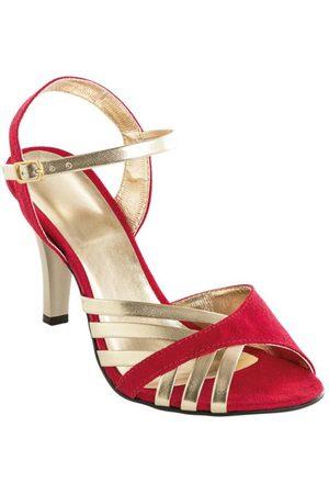 adidas Sandália Salto Fino Vermelha e Dourada