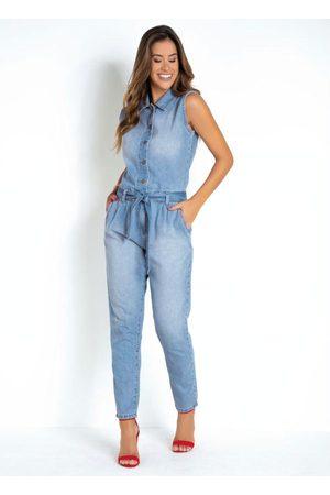 Sawary Jeans Macacão Utilitário Jeans Sawary