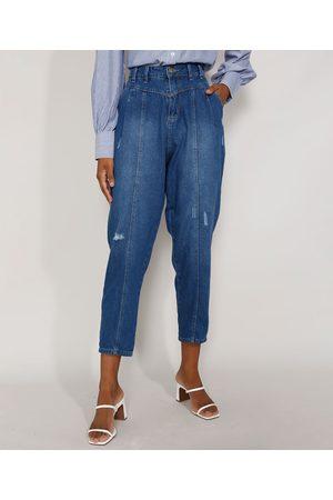 SAWARY Mulher Cintura Alta - Calça Jeans Feminina Cintura Alta Baggy com Recortes e Puídos Médio