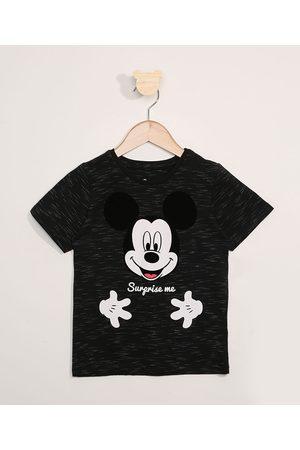 "Disney Menino Manga Curta - Camiseta Infantil Mickey Surprise Me"" Manga Curta Preta"""