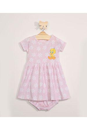 Warner Bros Menina Vestido Estampado - Vestido Infantil Floral Piu-Piu + Calcinha Rosa Claro