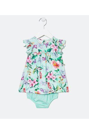 Teddy Boom (0 a 18 meses) Vestido Infantil com Calcinha Estampa Botânica - Tam 0 a 18 meses | | | 9-12M
