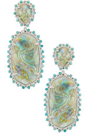 Kendra Scott Brincos - Parsons Statement Earring in Blue,Metallic Silver.