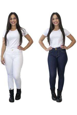 Luma Ventura Kit 2 Calças Jeans Feminina Skinny Cós Alto Branca