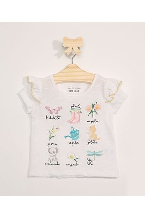 BABY CLUB Blusa Infantil Manga Curta Jardim com Babados Off White