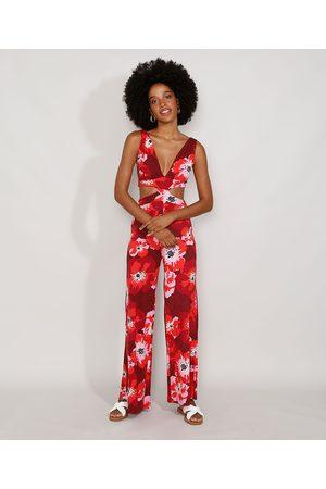 YESSICA Macacão Feminino Pantalona Floral com Vazado Alça Larga Vermelho Escuro