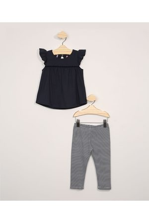 BABY CLUB Conjunto Infantil Blusa Ampla Manga Curta + Calça Legging Listrada Azul Marinho