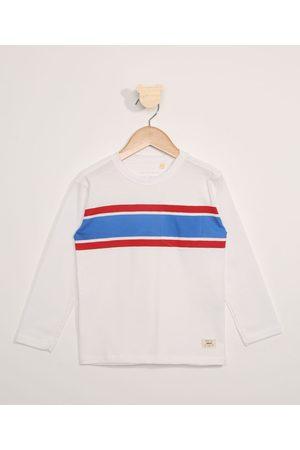 PALOMINO Camiseta Infantil Manga Longa com Listras e Bolso Off White