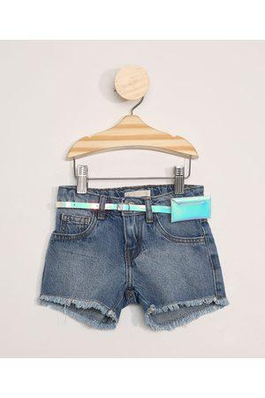BABY CLUB Short Jeans Infantil com Barra Desfiada e Cinto Médio