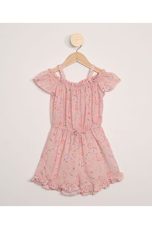 PALOMINO Macaquinho Infantil Open Shoulder Floral Rosa