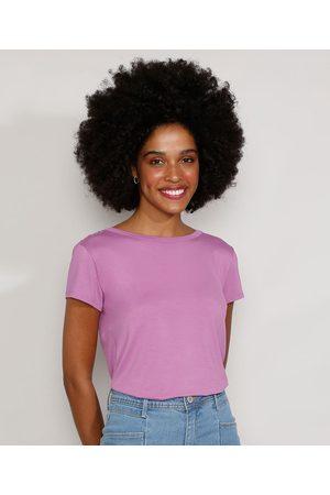 City Camiseta Feminina Manga Curta Básica com Botões Decote Redondo Lilás