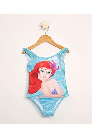 Disney Maiô Infantil Ariel com Babado com Proteção UV50+ Claro