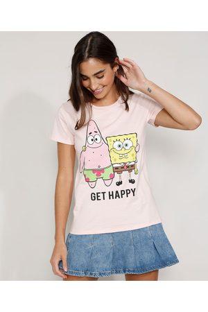 Nickelodeon Camiseta Feminina Manga Curta Bob Esponja e Patrick Decote Redondo Claro