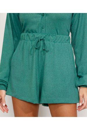 Mindse7 Mulher Short - Short Feminino Mindset Cintura Super Alta com Bolsos e Cordão Escuro