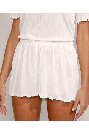 Mindse7 Mulher Short - Short Feminino Mindset Cintura Média Texturizado com Frufru Off White