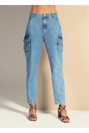 QUINTESS Calça Jeans com Bolsos Cargo