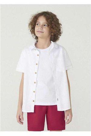 Hering Menino Camisa Manga Curta - Camisa Manga Curta Menino em Tecido de Algodão Off