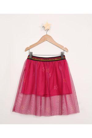 PALOMINO Menina Saia Estampada - Saia Infantil de Tule Estampada de Estrelas Pink