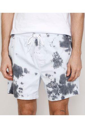 Clockhouse Homem Short - Short de Sarja Masculino Tie Dye com Cordão Off White