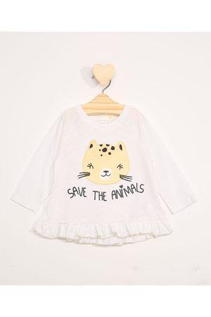 "BABY CLUB Blusa Infantil Manga Longa Save The Animals"" com Babados Off White"""