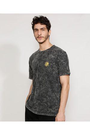 Clockhouse Camiseta Masculina Marmorizada Manga Curta Globo Gola Careca Preta