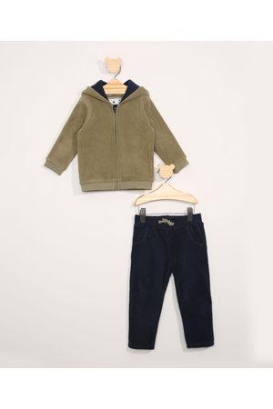 BABY CLUB Menino Moletom Completo - Conjunto Infantil de Blusa de Fleece Tigre + Calça de Moletom com Cordão Azul Marinho