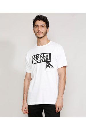 Marvel Camiseta Masculina Manga Curta Pantera Negra Gola Careca Branca