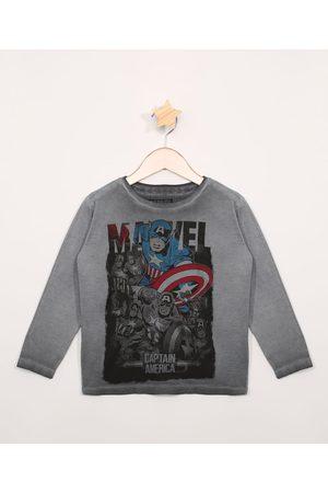 Marvel Camiseta Infantil Manga Longa Capitão América