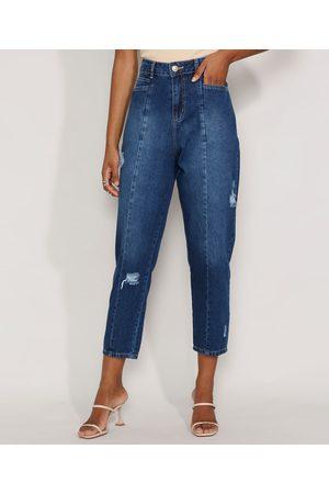 SAWARY Calça Jeans Feminina Cintura Alta Baggy com Rasgos e Recortes Escuro