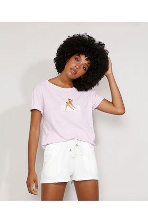 Disney Mulher Camiseta - Camiseta Feminina Manga Curta Bambi Ampla Decote Redondo Lilás