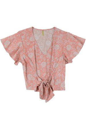 Cativa Blusa com Estampa Floral e Amarração Vermelho