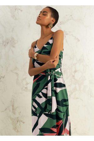 Gris Mulher Vestido Estampado - Vestido em Tecido com Alça Estampado