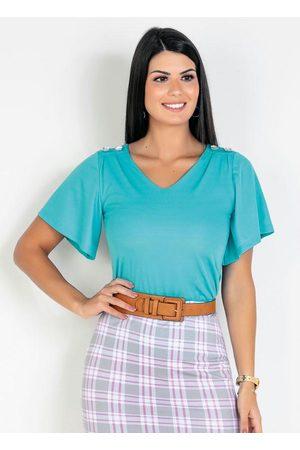 ROSALIE Mulher Blusa - Blusa Botões Água Moda Evangélica