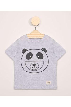 BABY CLUB Menino Manga Curta - Camiseta Infantil Manga Curta Estampa Interativa Panda Mescla